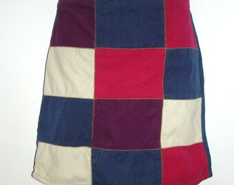 vintage corduroy and denim patchwork zigzag stiched jean skirt SMALL