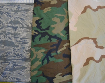 "Military camo camouflage fabric Air Force tiger stripe nylon; woodland and desert poly/cotton each item is for 1 yd x approx 60"" wide"