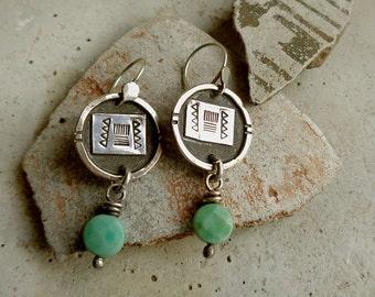 Rustic Tribal Hand Stamped Sterling Silver & Moss Green Opal Stones Dangle Earrings . Tribal Wabi Sabi Southwestern Boho Jewelry