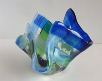 Fused Glass Votive Candle Holder in Blues and Greens