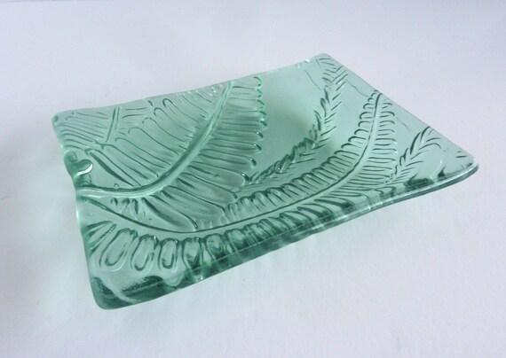 Pale Blue Green Glass Fern Leaf Imprint Plate