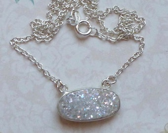 White Shimmer Druzy Necklace, Sterling Silver White Shimmer Druzy Necklace - Drusy Quartz Necklace