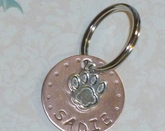 Copper Hand Stamped Pet or Dog Tag with Pewter Dog Paw Charm, Copper Dog Tag, Copper Pet Tag - Pet Gift - Dog Gift
