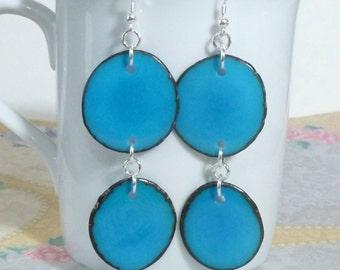 Tagua Earrings - Tagua Nut Slice Sterling Silver Earrings - Turquoise Tagua Nut Earrings - Turquoise Earrings - Tagua Jewelry