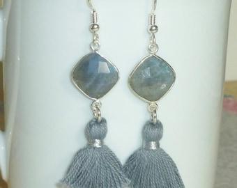 Labradorite Earrings, Gemstone Tassel Earrings, Grey Tassel Earrings, Tassel Jewelry, Labradorite Tassel Earrings