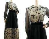 REDUCED 60s 70s Dress Vintage Paisley Chiffon Gold Black Midi Cocktail Party M