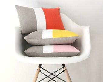 Pantone Colorblock Pillow Cover, Spring Decorative Pillows (12x16) by Jillian Rene Decor - Coral, Yellow, Pastel Pink - Rose Quartz - SS2016