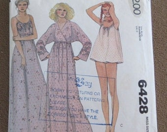 """Vintage Sewing Pattern Wrap Robe, Nightgown and Baby Doll Pajamas Drawstring Neck Size Small Bust 32 1/2 - 34"""" Quick and Easy Mcall's 70s"""