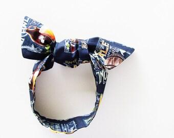 Craft Beer Head Scarf / Hair Accessory / Black, Brown, Gold Neck Scarf / Handbag or Walker Adornment / Rockabilly Head Scarf / Gift Under 20