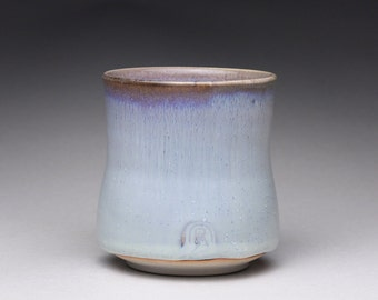 handmade porcelain cup, ceramic teacup, yunomi, pottery tumbler with white wood ash glazes