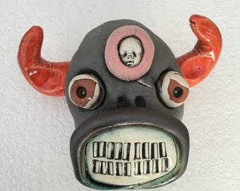 Ceramic Cow Head, wall hanging, cow skull