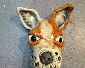 Dog Head, wall hanging , ceramic mask