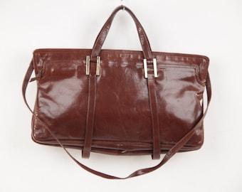 BOTTEGA VENETA Italian Vintage Brown Leather Handbag Tote Purse w/ Strap AS