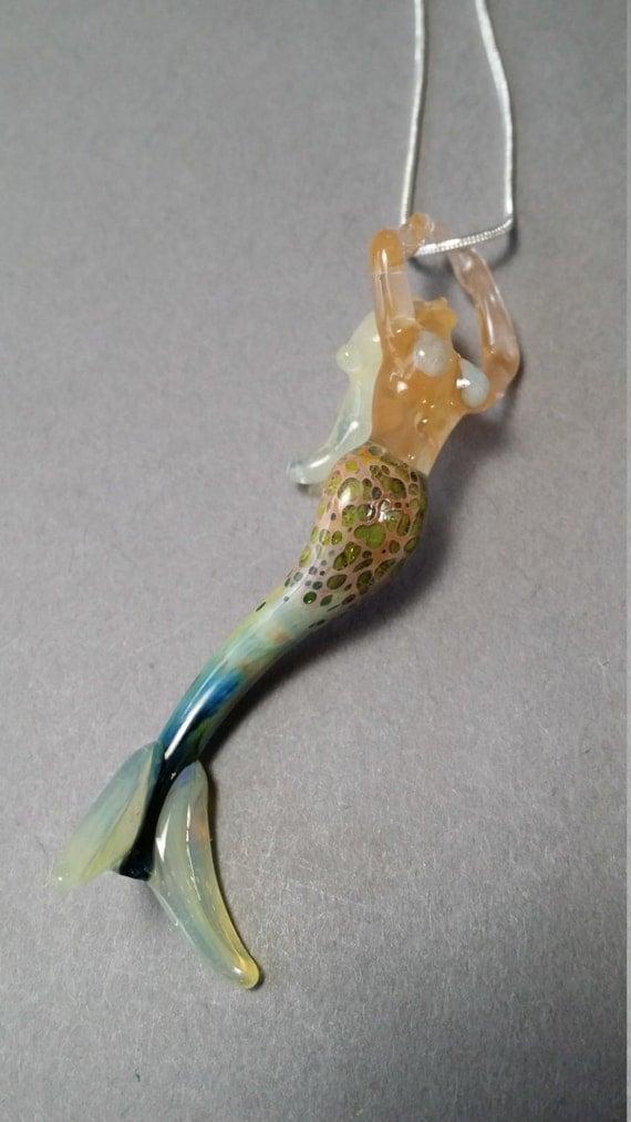 Mermaid blown glass jewelry pendant