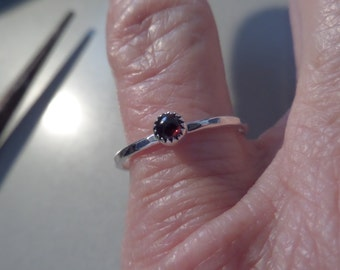 Slim 3mm garnet and Sterling Silver Ring or Stacker