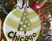 Handmade Ceramic Chicago Ornament