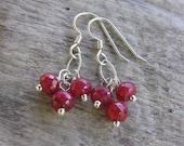 Ruby Earrings, Ruby Dangle Earrings, Gemstone Earrings, Sterling Silver Earrings