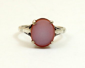 Art Deco Agate Signet Ring, Sterling Silver, Shiptonia England, US Size 6.25, UK Size M