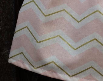 Pink and Gold Skirt, Gold and Pink Skirt, Girls Chevron Pink and Gold Skirt