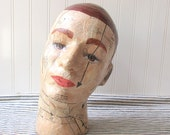 Mixed media Mannequin man head male head display head hat stand folk art head