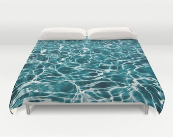 POOL Duvet Cover, Water Decorative bedding, unique design, Nautical comforter cover, Aqua Blue bedroom, Ocean Blue, Abstract Bedding, Dorm
