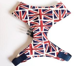 Pug Dog harness - Retro Union Jack, London, British, Custom Made Soft Dog Harness