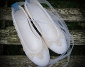 SIZE 39: Handmade felt fairytale wedding bridal shoes with organic cotton lace and Swarovski crystals, rubber soles and ribbons [SECONDS]