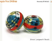 ON SALE 30% OFF 11008131 - Pair of Scarlet Stripes Rondelle Beads