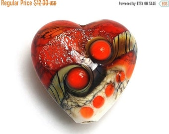 ON SALE 30% OFF Fire Red Stardust Heart-11831105-Handmade Glass Lampwork Bead