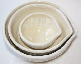 Mixing Bowl Set in White  Stoneware  Hold One, Three, and Four Cups Vermont Made