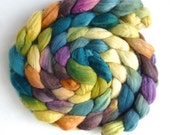 Finn Wool Roving - Hand Painted Spinning or Felting Fiber, Muted Reflections