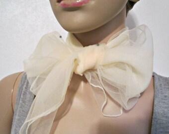 Nylon Scarf Sheer Off-White Scarf Vintage Nylon Wrap Vintage scarf.