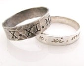 Personalized Couples Ring Set - His and Hers - Anniversary Stacking Rings - Save the Date -sterling silver rings - Roman Numerals