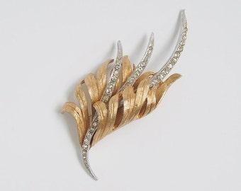 Vintage CORO Elegant Fluid ~PLUME & RHINESTONE~ Silver/Goldtone Brooch Pin FiNE