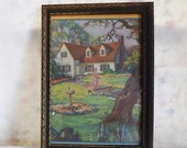 Valentines Day Sale Vintage 1940s framed print cottage with lady, little boy and dog with embossed rose frame