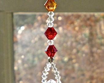 "Swarovski Crystal Ball on Chakra Colored Strand, Crystal Sun Catcher, Hanging Crystal, Rainbow Maker, Window Ornament, ""HARMONY GRANDE"""