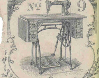 "Vintage Image Treadle Sewing Machine  2 1/4""x3 1/4"""