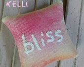 Bliss Mini Hand Embroidered Pillow Ready to Ship
