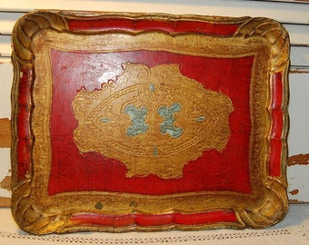 Vintage Florentine RED Tray Gold Gilt Italian Italy