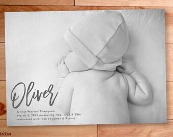 Baby Boy Announcement, Birth Announcement, Brush Script, Printable, Typography, Custom Photo Card, Swirls, Custom Announcement Photo Card