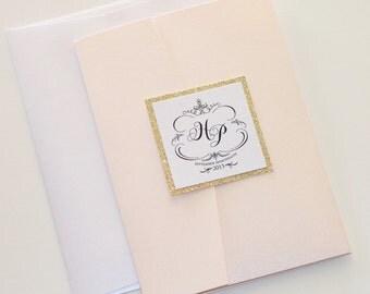 Elegant Wedding Invitation - Glitter Wedding Invitation - Vintage Wedding Invitation - Blush Pink, White, Gold Glitter - Hayden Sample