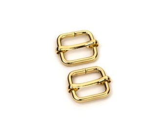 "50pcs - 1/2"" Adjustable Slide Buckle - Gold - Free Shipping (SLIDE BUCKLE SBK-105)"