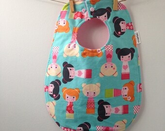 Kimono Girls Baby Bib - Toddler Baby Bib with Snaps