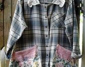 Reserved for Becky-Flannel Shirt and Chintz Smock/ 1-2X Flannel and Crochet Jacket/ Funky Plaid Flannel Tunic/