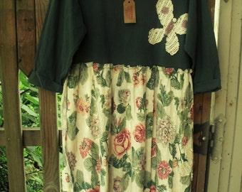 Plus Size Blue-Green Tee Top/Rose Print Dress/ Butterflies and Roses/ Sheerfab Funwear