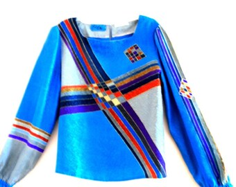 glamour vintage 70s  blue and grey silk,  blouse with multicolor strips and blocks print. Hand  made by Elfie, Paris.Size M.
