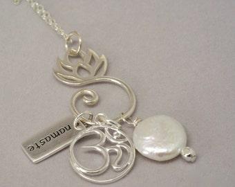 Namaste Charm Necklace, Aum Necklace, Ohm Pendant, Yoga Jewelry, Gift for Yogi, Lotus Charm Holder Necklace, Yoga Necklace, Namaste Necklace