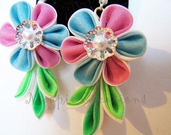 Tsumami silk flower earrings, pink & blue