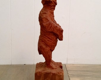 Vintage Chainsaw Wood Carving Small Standing Bear Looking to the Side..Signed