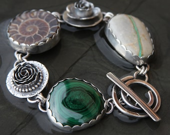 malachite bullseye, ammonite, crow springs turquoise and sterling silver metalwork link bracelet